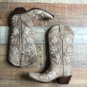 Corral Bone Tan Floral Fancy Stitch Snip Toe Boots